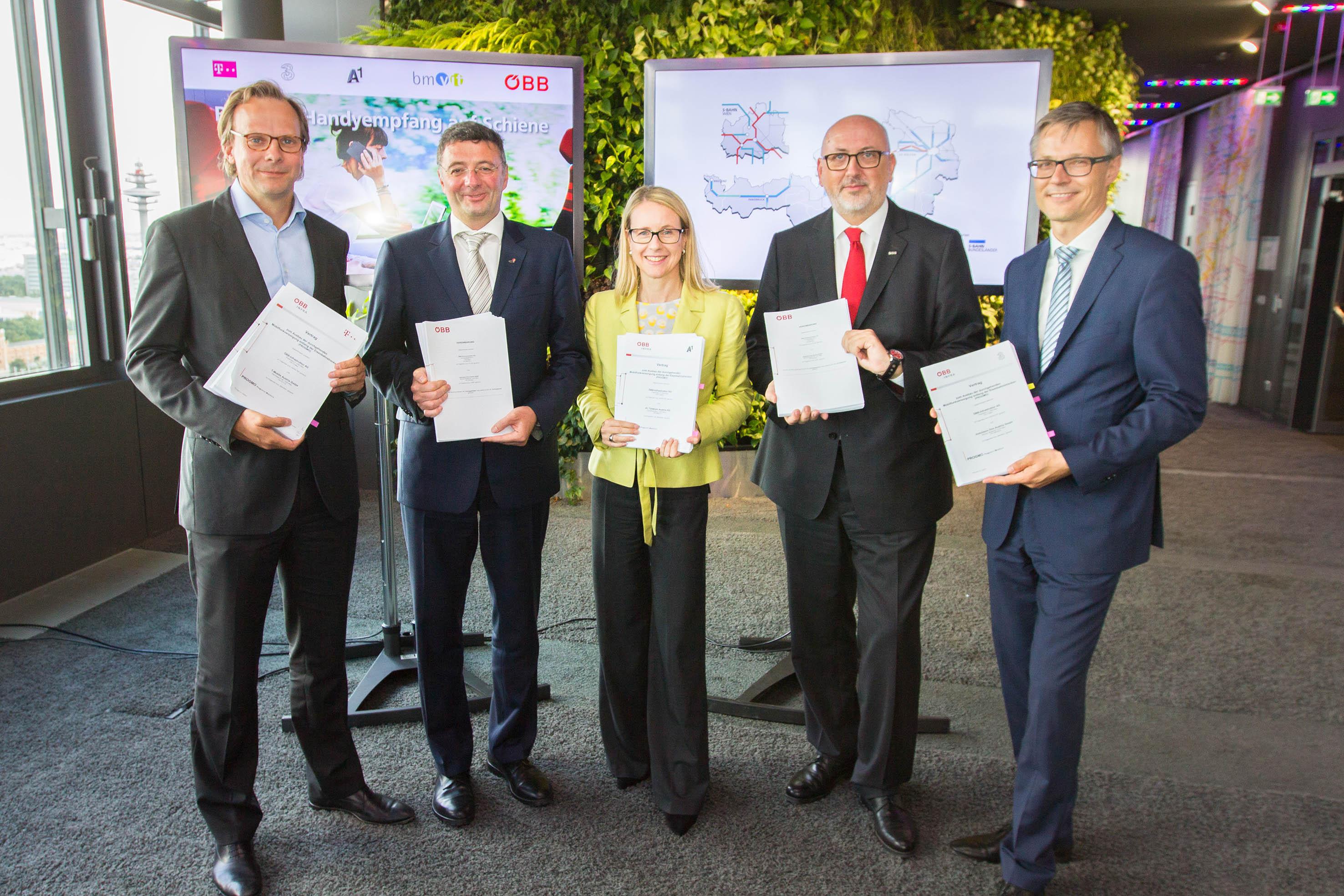 Infrastrukturministerium, ÖBB und Telekom-Unternehmen fixieren Handypaket für die Schiene