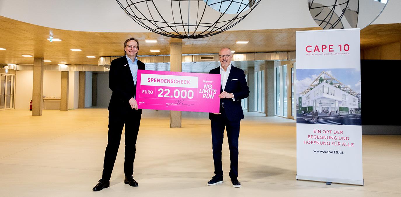 Magenta spendet mit virtuellem Lauf 22.000 Euro an CAPE 10 für Menschen in Armut